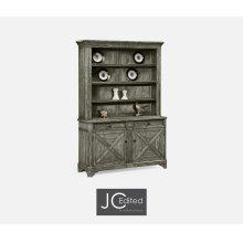 Antique Dark Grey China Cabinet