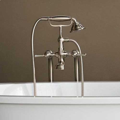 Transitional Floor-Mounted Bathtub Faucet with Randall Lever Handles - Brushed Nickel