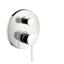 Chrome Single lever bath mixer for concealed installation with flat lever handle and integrated security combination according to EN1717