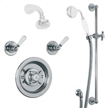 Archipelago thermostatic mixing valve, flow controls, sliding rail and shower kit (order headset and handset separately)