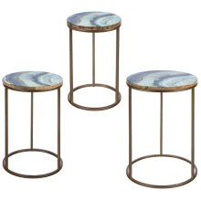 Blue & Gold Faux Agate Enamel Top Side Table (3 pc. set)