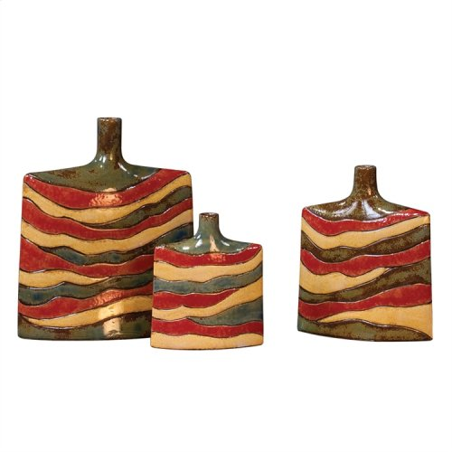 Red, Yellow & Sage Green Ceramic Vases