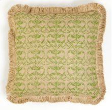 Green Damask Burlap Pillow