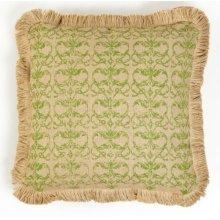 Green Damask Burlap Pillow
