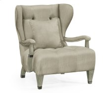 Modern Winged Grey Oak Occasional Chair, Upholstered in MAZO