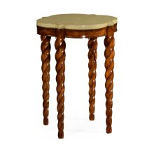 Walnut Twisted Side Table with Celadon Top
