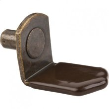 "Antique Brass 5 mm Pin Angled Shelf Support with 3/4"" Arm and Brown Sleeve"