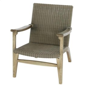 Nora Synthetic Rattan Arm Chair Natural Gray Frame, Gray