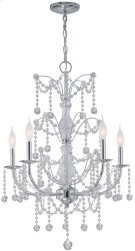 5-lite Chandelier Lamp, Chrome/crystals, E12 Type C 60wx5 Product Image