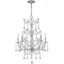 5-lite Chandelier Lamp, Chrome/crystals, E12 Type C 60wx5
