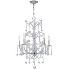5-lite Chandelier Lamp, Chrome/crystals, E12 Type C 60wx5