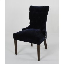 Outside back: Trull Twilight Inside Button tufted back / seat Renley Midnight w/ Black Nickel nails Grey Wash legs