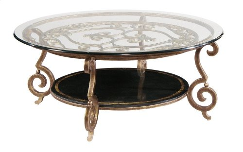 Zambrano Round Cocktail Table Base and Glass Top