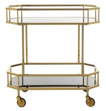 Silva 2 Tier Octagon Bar Cart - Brass / Tinted Glass