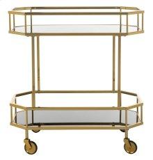 Silva 2 Tier Octagon Bar Cart - Brass / Tinted Glass