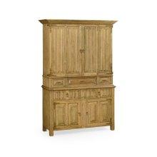 Linenfold Natural Oak TV Cabinet