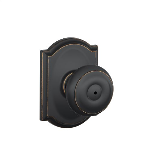 Georgian Knob with Camelot trim Bed & Bath Lock - Aged Bronze