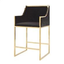 Brass Counterstool With Black Velvet Upholstery