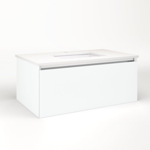 """Cartesian 36-1/8"""" X 15"""" X 21-3/4"""" Single Drawer Vanity In Matte White With Slow-close Plumbing Drawer and No Night Light"""