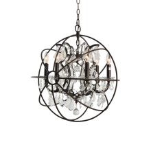 6-Light Chrystal Chandelier in Rustic Brown