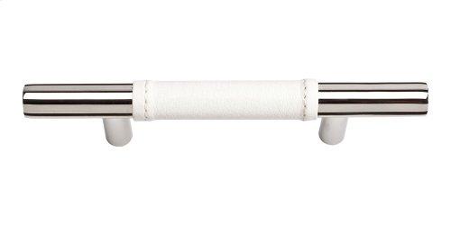Zanzibar White Leather Pull 3 Inch (c-c) - Polished Chrome