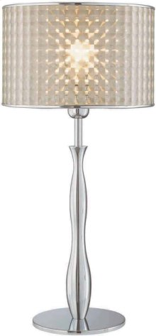 Table Lamp, Chrome/optic Vinyl Shade, E27 Cfl 23w