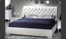 White Leatherette Modern Bed