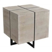 Bengal Manor Antique Nickel and Acacia Wood White Wash Finish Rectangle Squares End Table