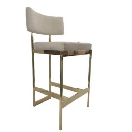 Modern Beige and Brass Counter-height Stool