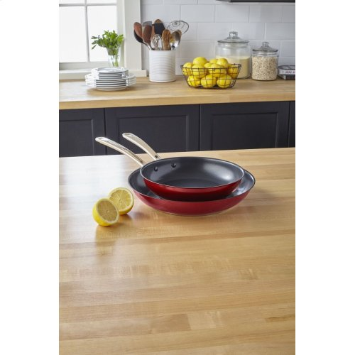 """Stainless Steel 10"""" and 12"""" Skillets Twin Pack - Candy Apple Red"""