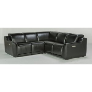 Reign Leather Power Reclining Sectional with Power Headrests
