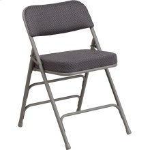 HERCULES Series Premium Curved Triple Braced & Double Hinged Gray Fabric Metal Folding Chair