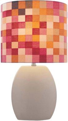 Ceramic Table Lamp, Latte/colored Fabric, E27 Type Cfl 13w