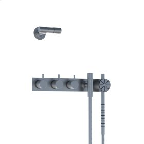 Two-handle build-in mixer with 1/4 turn ceramic disc technology and diverter - Matt white