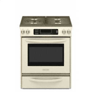 KitchenAidSlide-In Gas Range True Convection Oven Frameless Cooktop Full-Width Cast-Iron Grates Four Sealed Burners TripleTier® 600-15K BTU Gas Burner Architect® Series II(Biscuit)