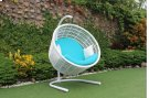 Renava Doheny Outdoor White & Aqua Blue Hanging Chair Product Image
