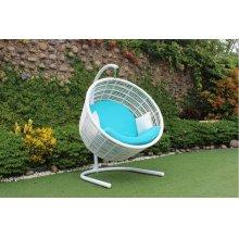 Renava Doheny Outdoor White & Aqua Blue Hanging Chair