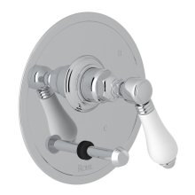 Polished Chrome Italian Bath Pressure Balance Trim With Diverter with Porcelain Lever