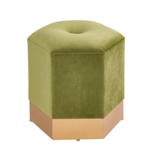 Bella Velvet Fabric Hexagon Ottoman, Serene Olive Green/Gold