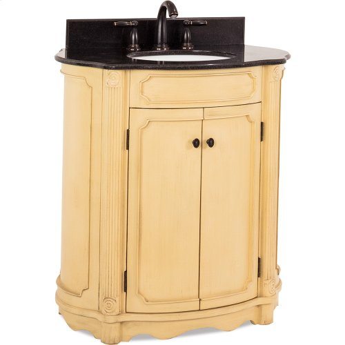 "32"" elliptical vanity with antique crackled Buttercream finish, reed columns, and simple carvings all topped with preassembled top and bowl."