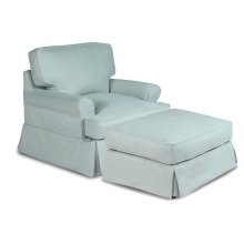 Sunset Trading Horizon Slipcovered T-Cushion Chair with Ottoman - Color: 391043