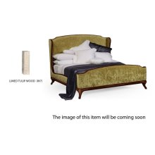 US King Louis XV Limed Tulip Bed, Upholstered in Lime Velvet