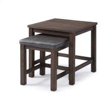 2 PC Nesting Tables-dk Brown Wood & Brown Pu#suntex-525 Rta