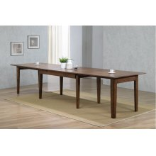 """DLU-BR134-AM  134"""" Rectangular Extendable Dining Table  Amish Brown"""