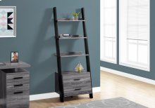"BOOKCASE - 69""H / GREY-BLACK LADDER WITH 2 STORAGE DRAWER"