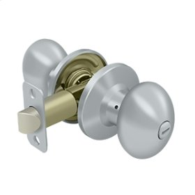 Egg Knob Privacy - Brushed Chrome