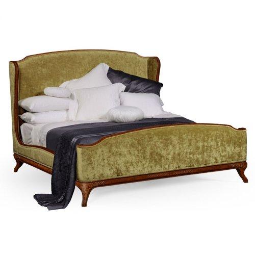 Cali King Louis XV Walnut Bed, Upholstered in Lime Velvet