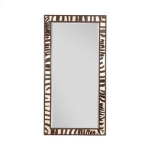 Ebony Finished and Zebra Leather Inlay Mirror, Beveled Glass