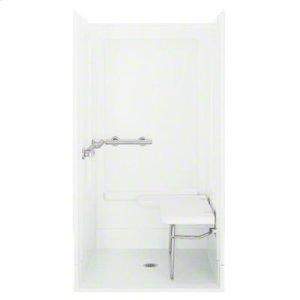 """OC-SS-39, Series 6205, 39-3/8"""" x 39-3/8"""" x 72"""" Transfer Shower - Seat on Right, Grab Bars at Left - White Product Image"""
