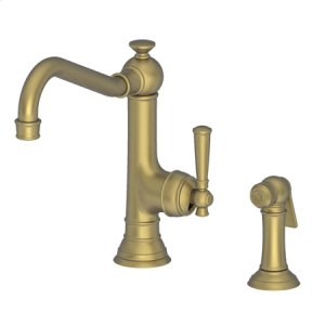 Antique Brass Single Handle Kitchen Faucet with Side Spray